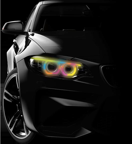 Black Car with headlights