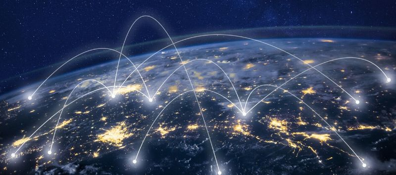 view of earth from space with lines connecting cities