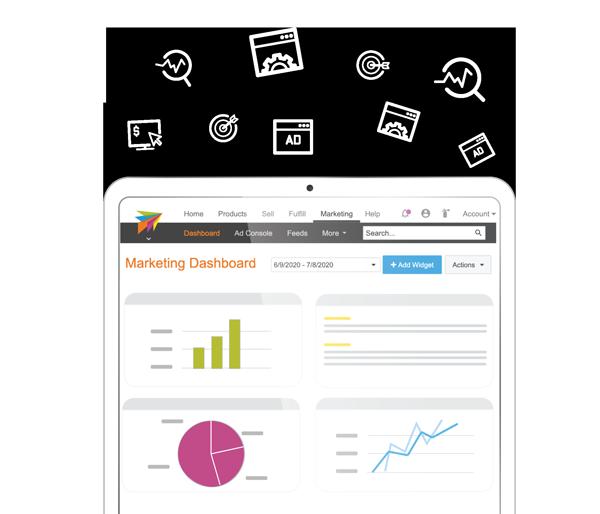 ChannelAdvisor Platform graphic showing our marketing dashboard on ipad