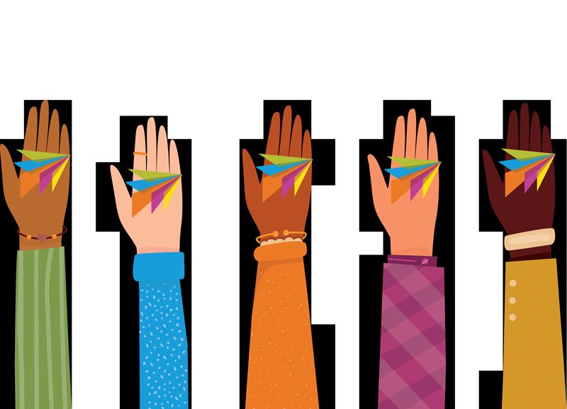 diverse set of hands each holding channeladvisor logo