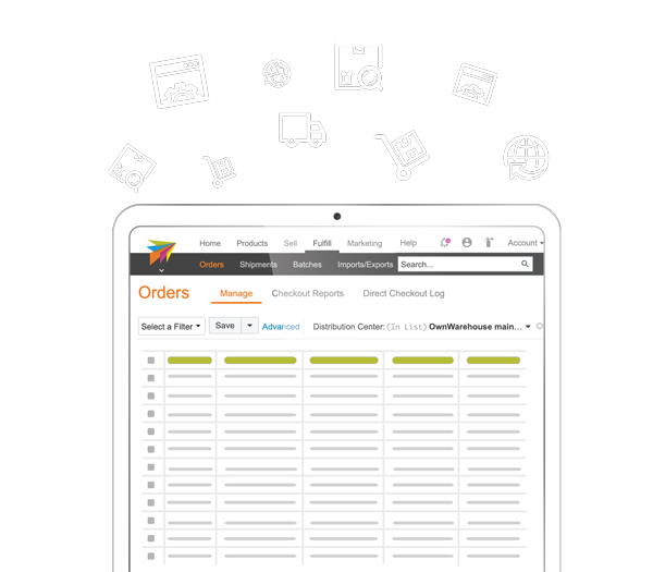 ChannelAdvisor Platform graphic showing our fulfillment dashboard on ipad