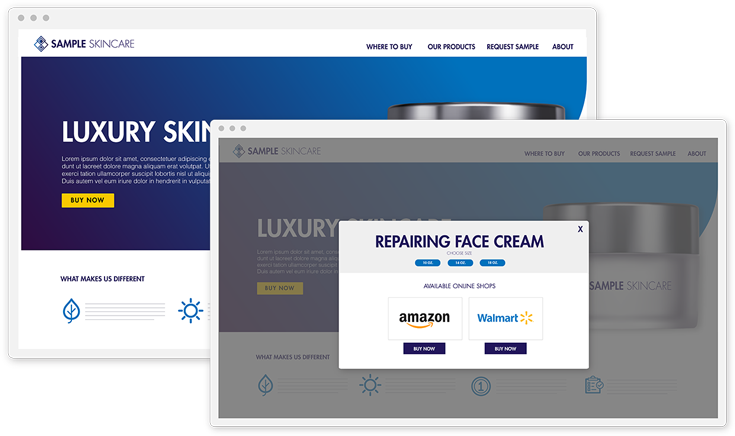 showing customers where to buy products on a product page