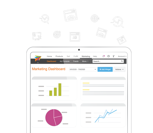 ChannelAdvisor Platform graphic showing our digital marketing dashboard on ipad