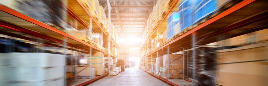 warehouse shelving with motion blur