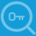 magnifying glass with a key in view icon
