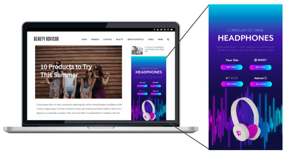 shoppable media advertisement on website