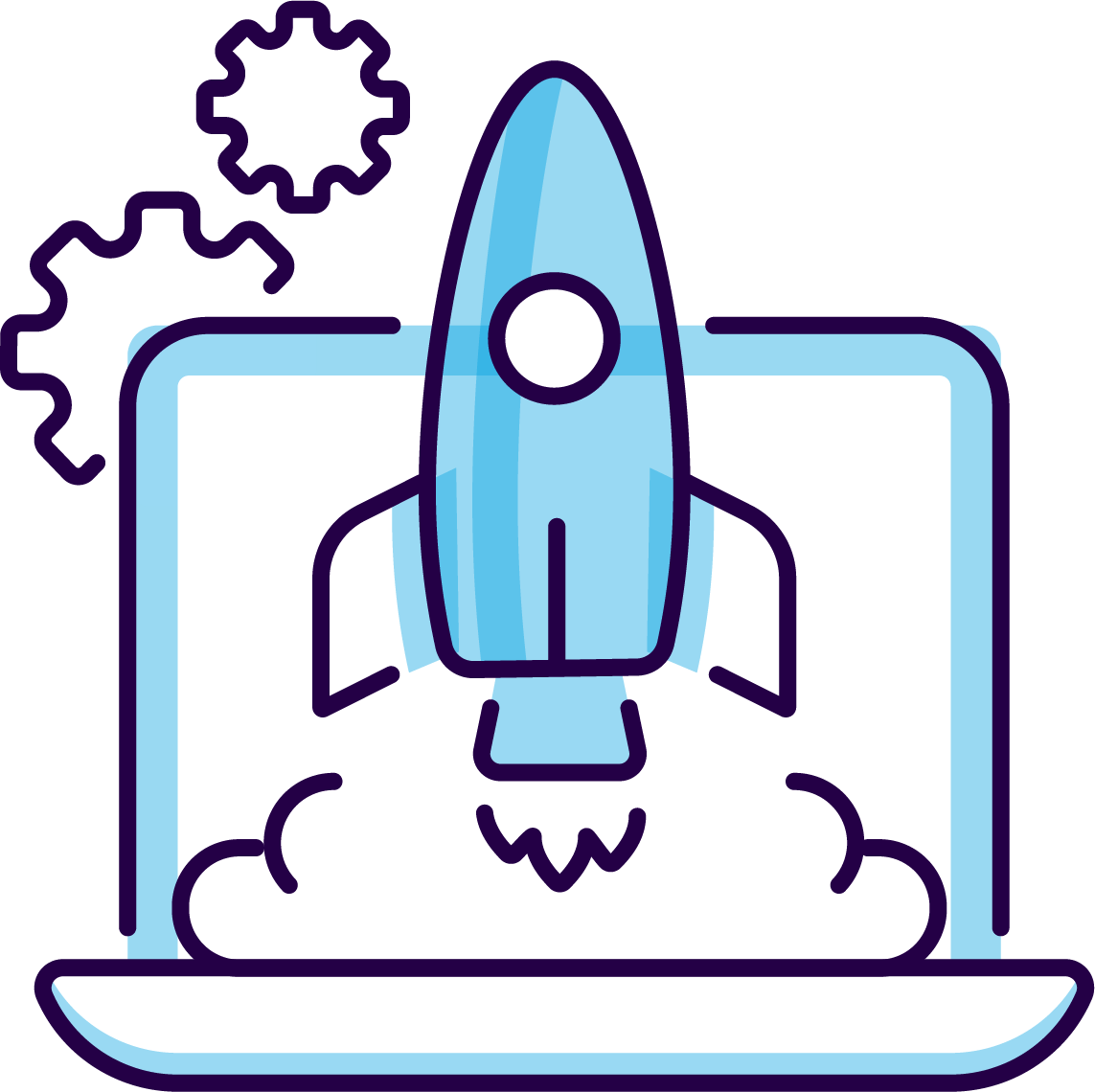 rocket ship launching from laptop
