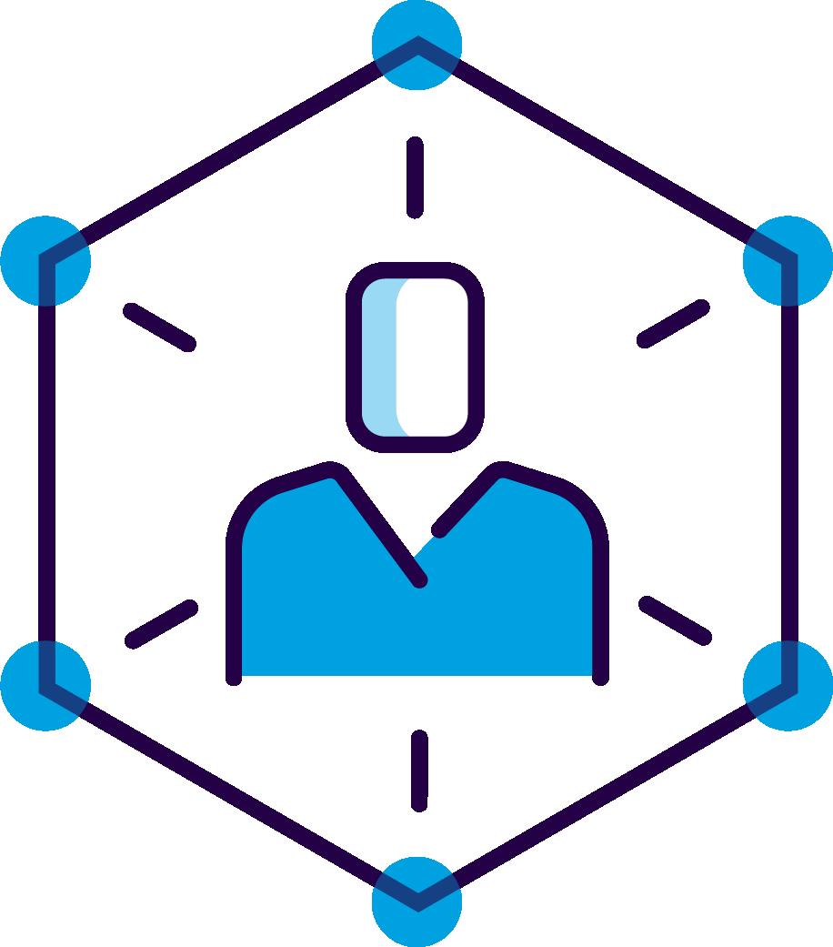 person inside hexagon