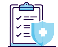 medical clipboard with checklist checked