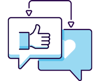 text conversation with thumbs up and heart